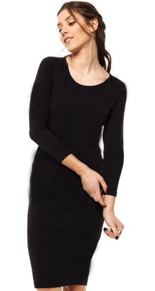 Vestido Manga Larga Negro Mia Loreto Modelo Siena