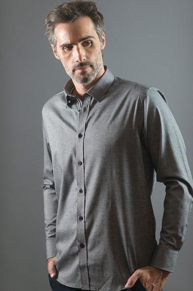 Camisa Polo Hombre Manga Larga Talles Grandes Elegant Gris