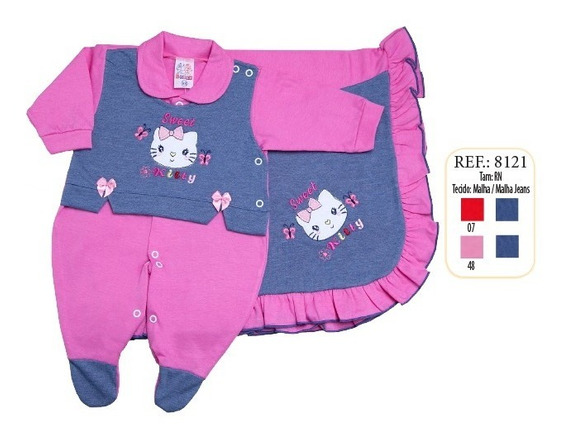 Kit Maternidade Bebe Menina Detalhe Colete Bor Kitty Ref8121