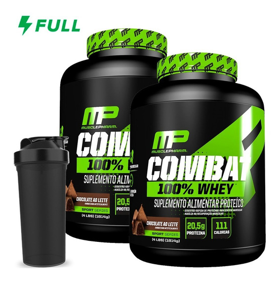 Combo 2x Combat 100% Whey 1,8kg - Muscle Pharm + Brinde