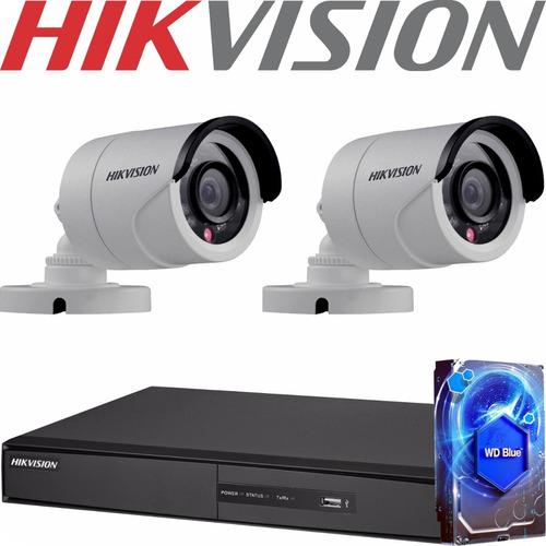 Kit Seguridad Hikvision Dvr 4 + 2 Camaras Hd Exterior +disco