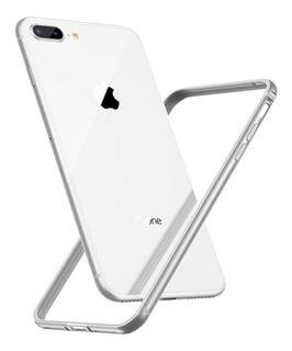Capa Bumper Case Aluminio Para iPhone 7 Plus 8 Plus Prata
