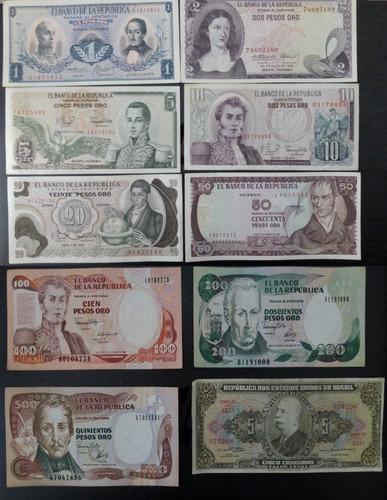 Imagen 1 de 2 de Set De Billetes Antiguos De Colombia 9 Unidades Y 5cruzeiros