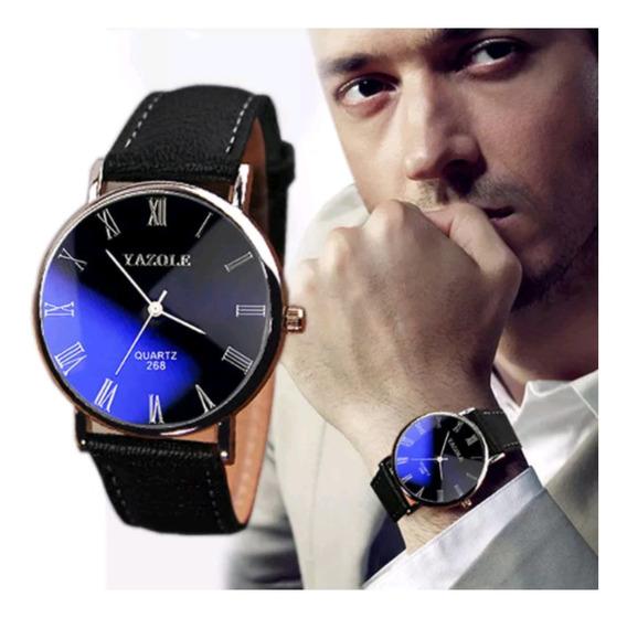 Relógio Masculino Yazole Prata Couro Social Elegante Estilo