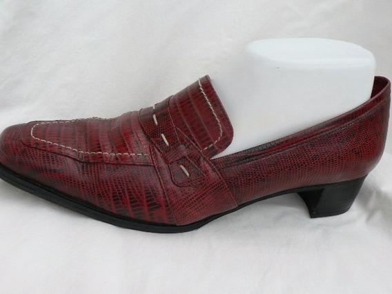 Zapato Mocasin Cuero Lagarto Igual A Nuevo Nº 40 1001zapatos