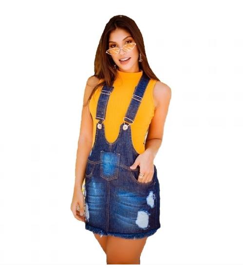 Vestido Jeans Feminino Curto Salopete Jardineira Vjs02