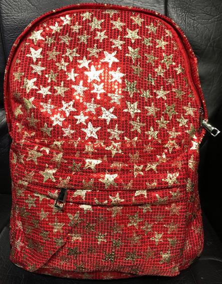 Mochila Lentejuela Con Estrellas Doradas Pintadas 41 Cm