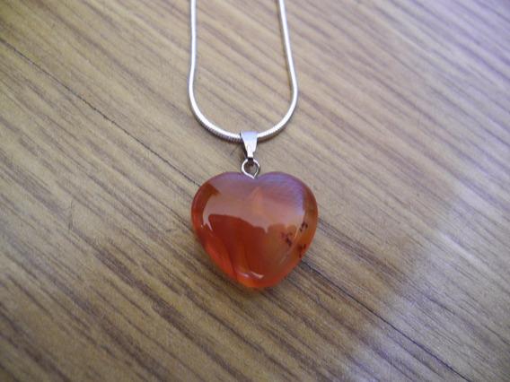 Colar Coração Pedra Natural Ágata Vermelha Gargantilha