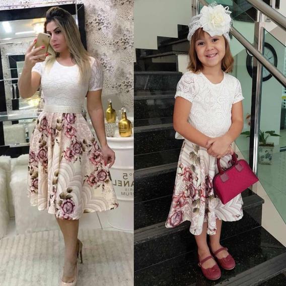 Vestido Moda Evangélica Mãe E Filha Gode Duplo + Cinto Grati