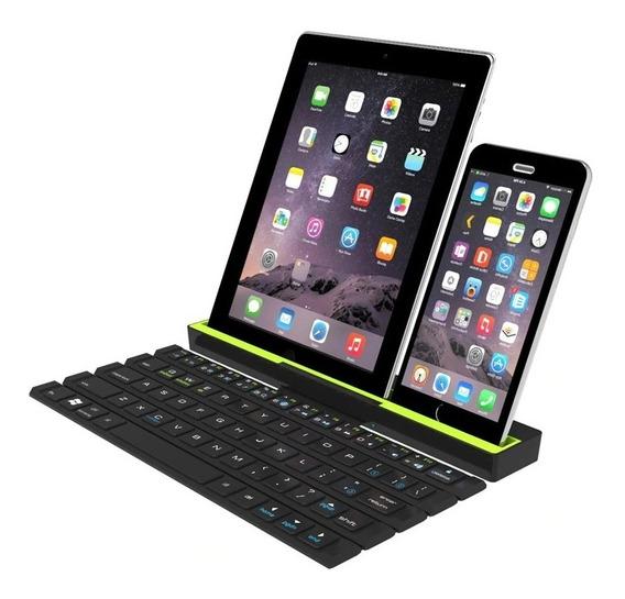 Teclado Bluetooth Dobrável Suporte Tablet Celulares Sony