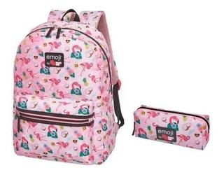 Mochila Costas+estojo Pack Me Emoji Flamingo Abacaxi Pacific