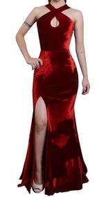 Vestido Longo Sereia Em Veludo Com Fenda D107
