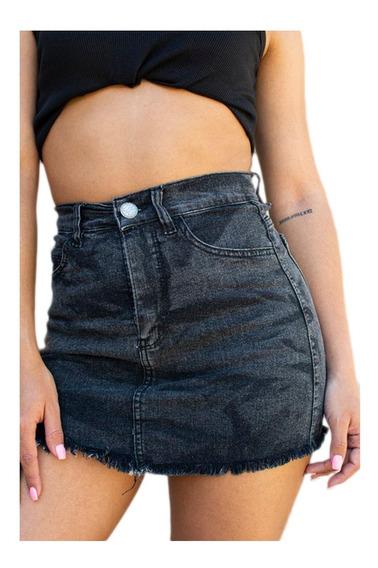 Pollera Mini Jean Negra Mujer Tiro Alto Con Cierre Elastizad