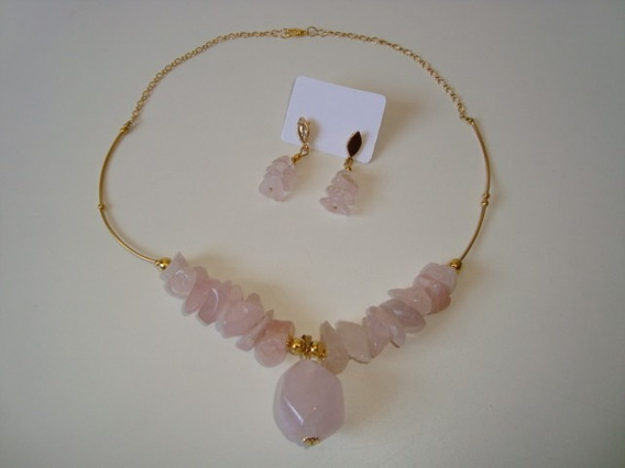 Colar Dourado Cascalho Pedra Quartzo Rosa C/ Brincos