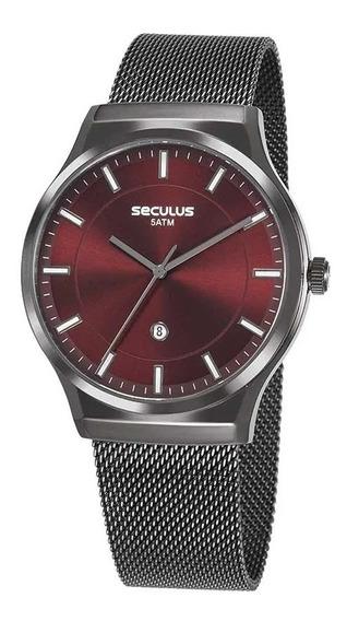 Relógio Masculino Seculus Preto 23677gpsvsa2 Fundo Vermelho