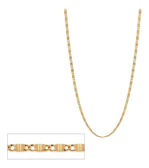 Cordão Rommanel Fol Ouro Fio Navete Masculino 60cm 531651