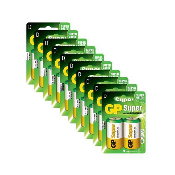 20 Pilhas Gp Batteries Super Alcalinas Tipo D 1.5v 13a-c2x10