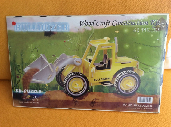 Figura Tractor Armable 3d Madera