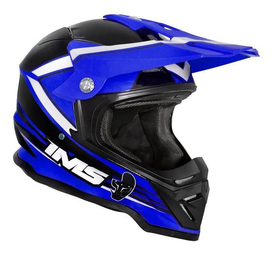 Capacete Trilha Ims Light Azul Preto Motocross