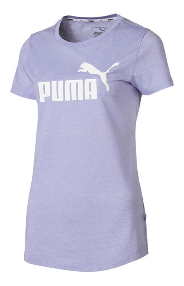 Puma Remera M/c Lifestyle Mujer Logo Heather Lila