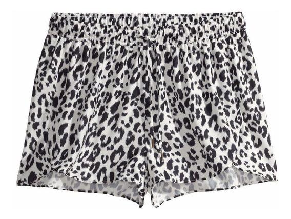 Shorts De Verano Playa De Raso Saten Animal Print H&m Nuevos