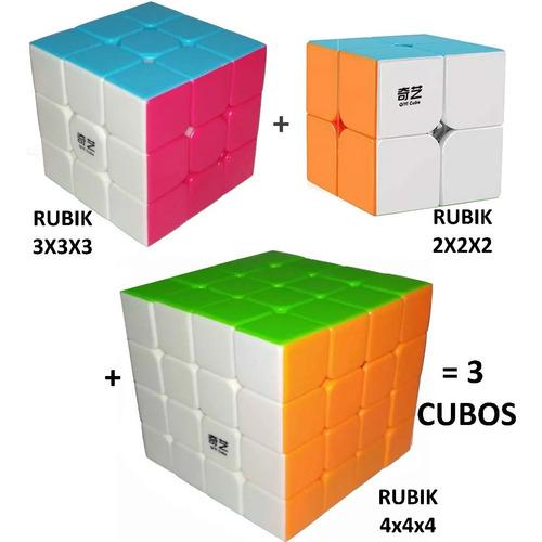 Pack X 3 Cubos Rubik Qiyi 2x2x2 3x3x3 4x4x4 - 2x2 3x3 4x4