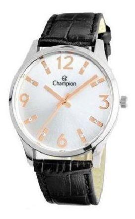 Relógio Feminino Champion Prateado Couro Preto Cn24217q