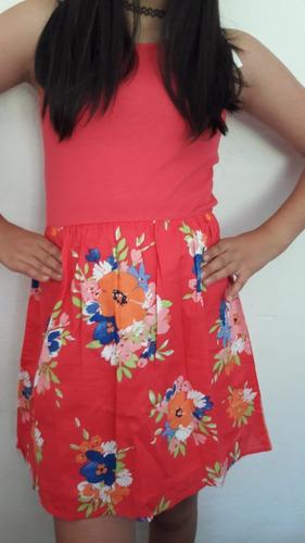 Vestido Gap Rosado C/flores Talle 12 Y 13 Original Off