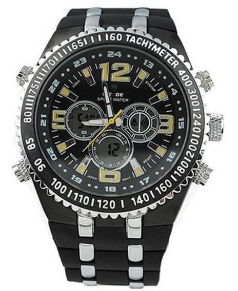 Relógio Masculino Casual Weide Wh-1107 Preto E Amarelo