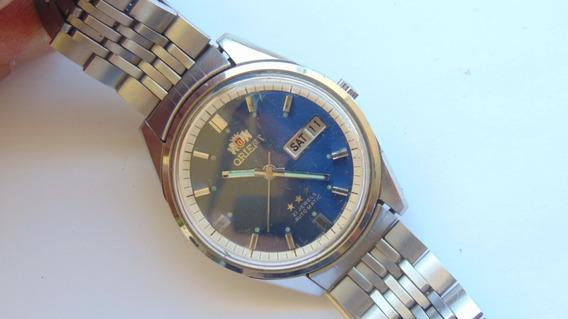Relogio Orient 1942 Azul 21jewels Datedate Aut Impecavel Rev