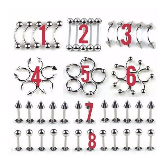 5 Piercing De Aço Inox Nariz Lábio Sobrancelha Língua Umbigo
