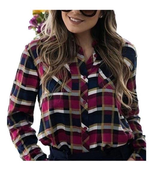 Camisa Xadrez Feminina Em Viscose Blusa Com Bolsos Otimo