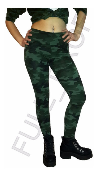Calza Camuflada Verde Militar Legging Chupin Full Prof