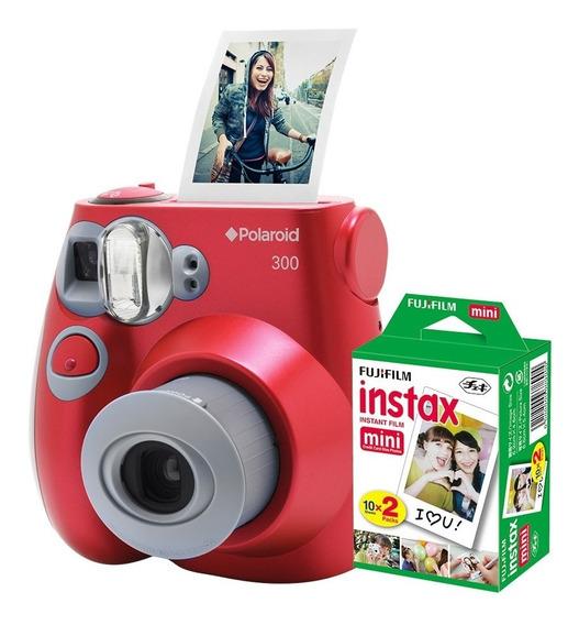 Câmera Polaroid Instantânea Pic 300 Verm. C/ Filme 20 Poses