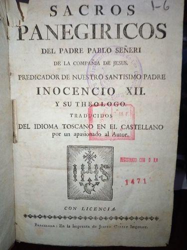Livro Sacros Panegiricos Padre Pablo Seneri
