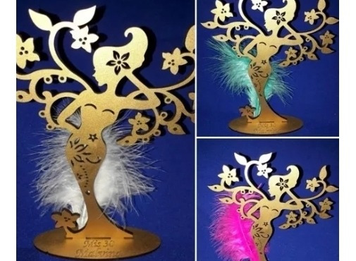 20 Souvenirs Arbol Mujer Mdf Con Pluma + 4 Centrales