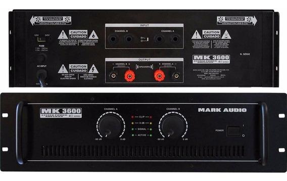 Amplificador Potencia Mark Audio Mk-3600 Stereo 600w Rms