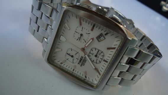 Relógio Timex Indiglo Chronograph Quadrado Wr 50mts Lindo