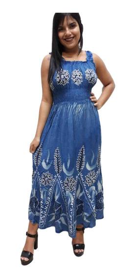Vestido Longuete Regata Indiano Batik Bordado Elástico 07