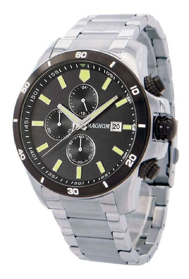 Relógio Magnum Masculino Grande Cronógrafo Prata Ma34647t