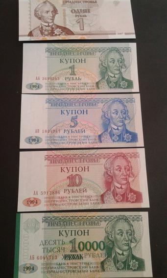 Lote 5 Cédulas Transnistria 1, 1, 5, 10, 10000 Rublei Fe