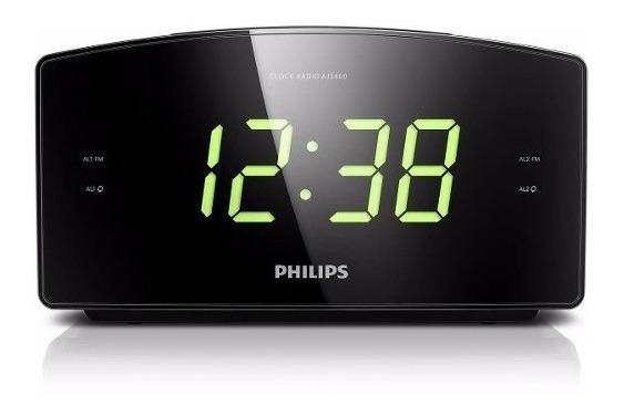 Radio Fm Relógio Despertador Philips Visor Grande Aj3400