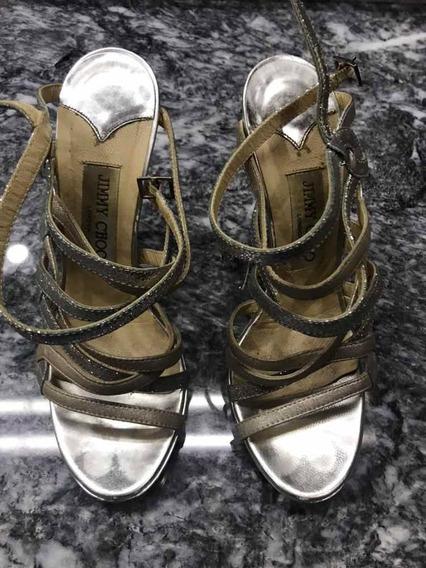 Zapatos Plata Jimmy Choo Usados Originales 36.5 Excelentes