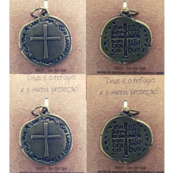 4 Unidades Da Medalha Das Duas Cruzes Cor: Ouro Velho- 2,8cm