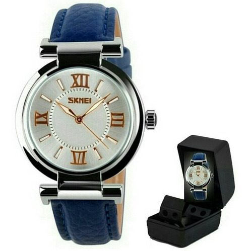 Relógio De Pulso Feminino Skmei 9075 Original Pulseira Branc