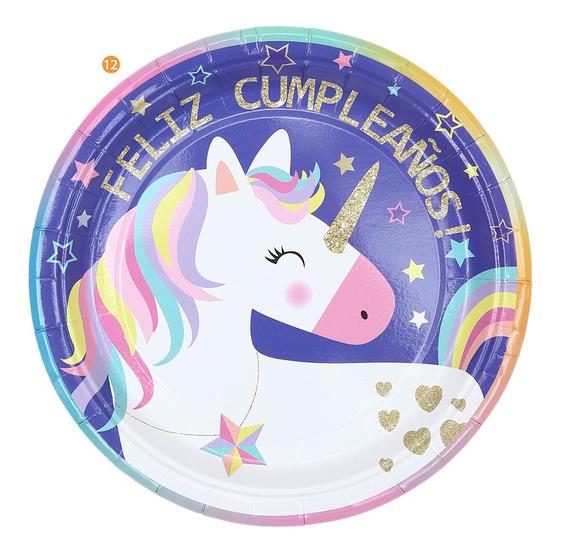 Platos Descartables Cumpleaños Unicornio Chico X10u