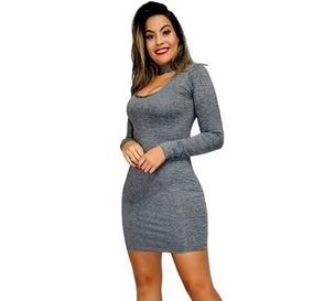5b1caa406b Vestido Cinza De Malha Longo - Vestidos Curtos Femininas Cinza no ...