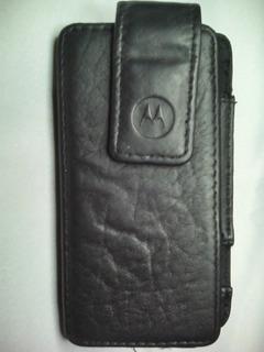 Forro Estuche De Cuero Para Celular Motorola Con Clip
