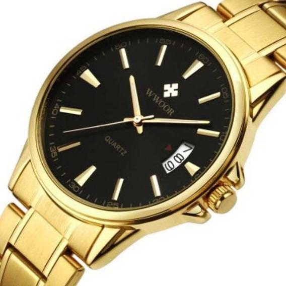 Relógio Wwoor 8033 Masculino Dourado Pronta Entrega