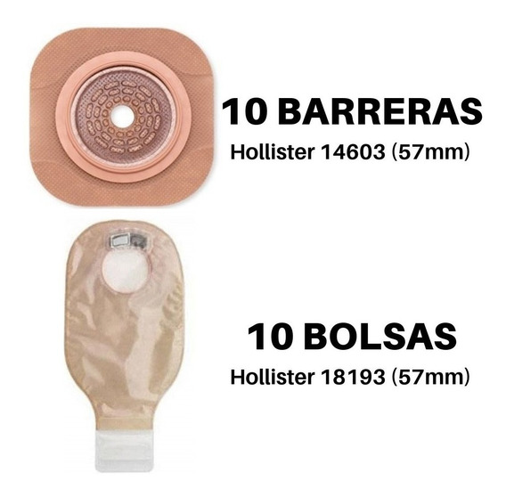 10 Barrera 14603 + 10 Bolsa 18193/18183 Hollister Colostomia